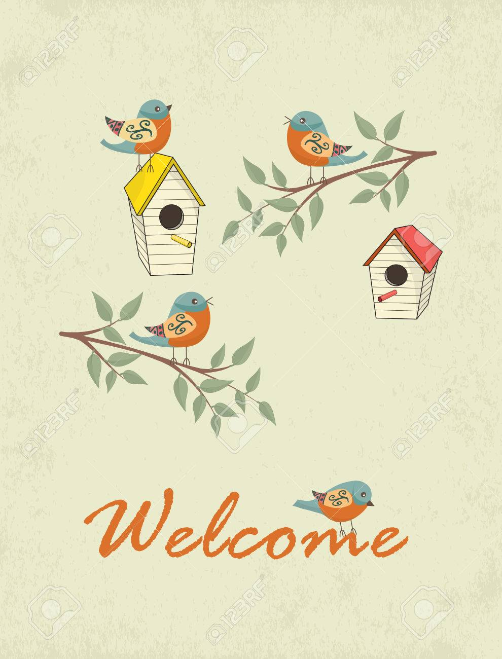 decorative hand drawn card with bird house and welcome sign