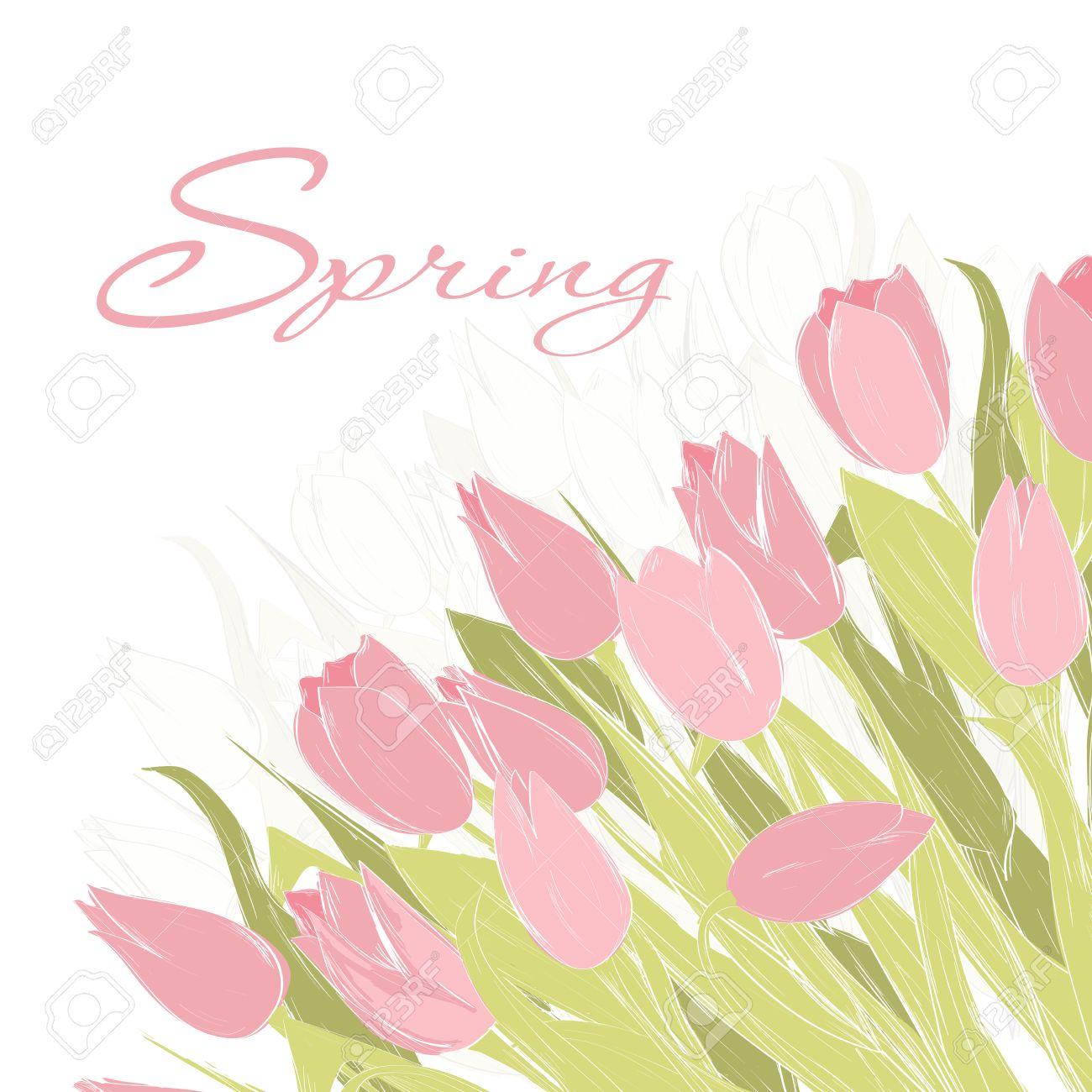 cheap hand gezeichnet frhling tulpe blumen frhling grukarte einladung vorlage fr ihre with frhling vorlagen blumen
