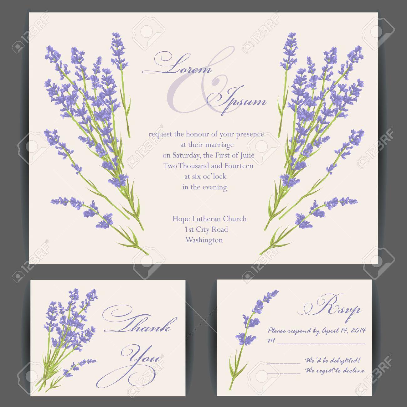 Wedding Invitation Card With Purple Lavender Flower. Vintage ...