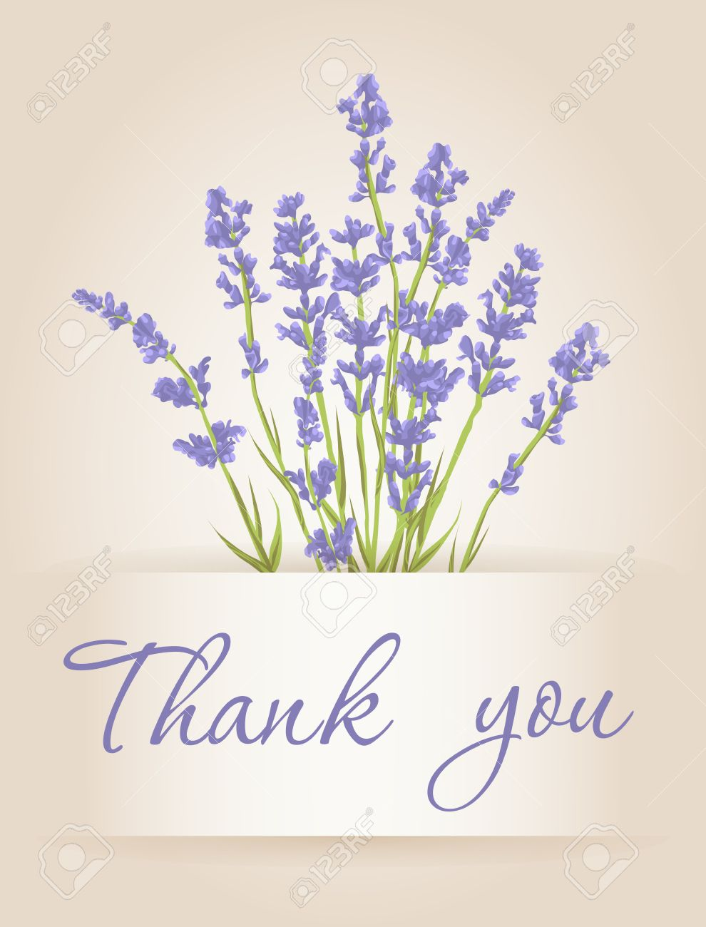 thank you card with purple lavender flower vintage background