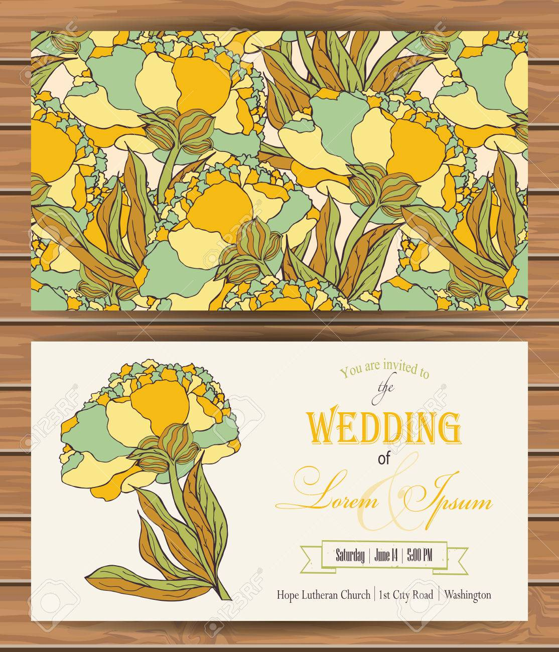 Floral Vector Card Templates Hand Drawn Design For Save The