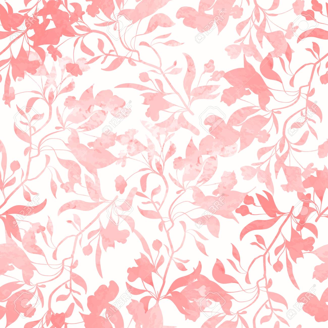 Seamless Pattern With Watercolor Flowers Hand Drawn Design For