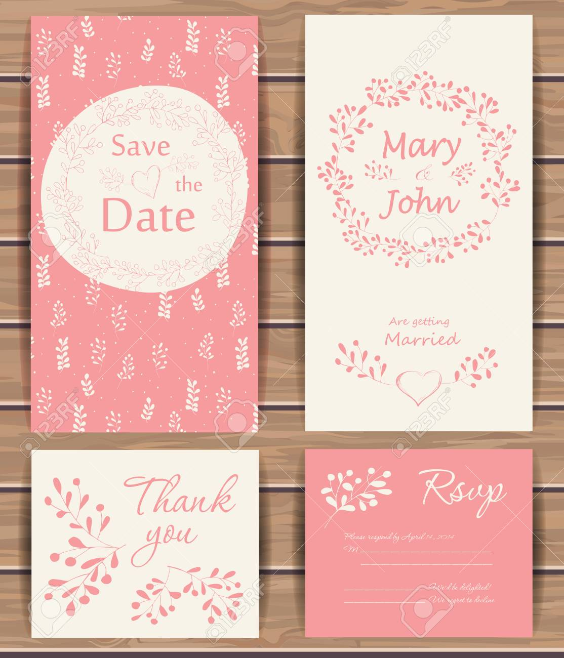 Greeting Card Templates | Floral Vector Card Templates Hand Drawn Design For Save The Date