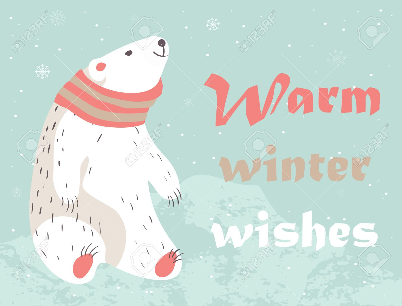 christmas card with cute polar bear in scarf warm winter wishes