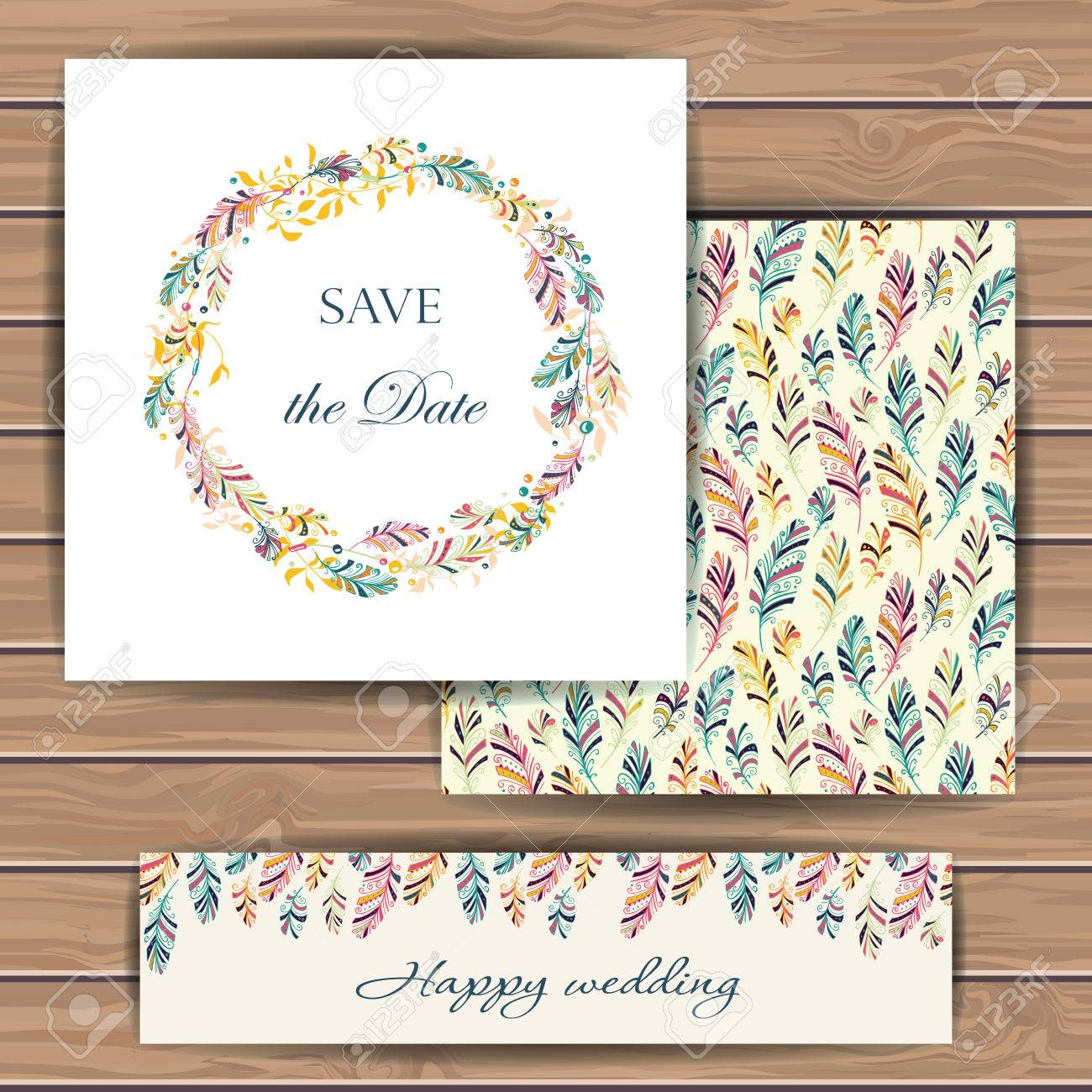 Greeting Cards With Feather Hand Drawn Design For Save The Date