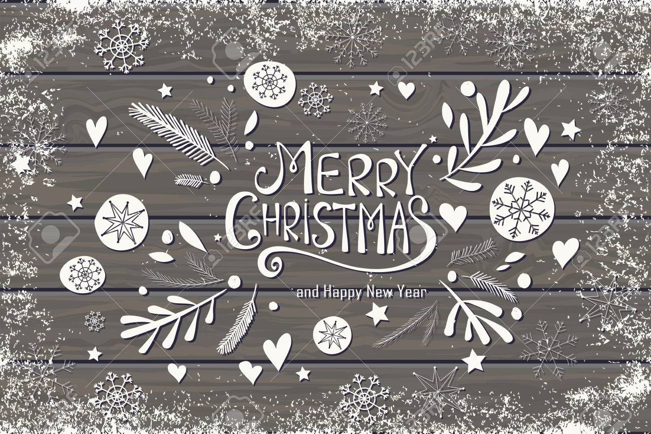 Grußkarte Mit Merry Christmas Hand Schriftzug. Hand Gezeichnet ...