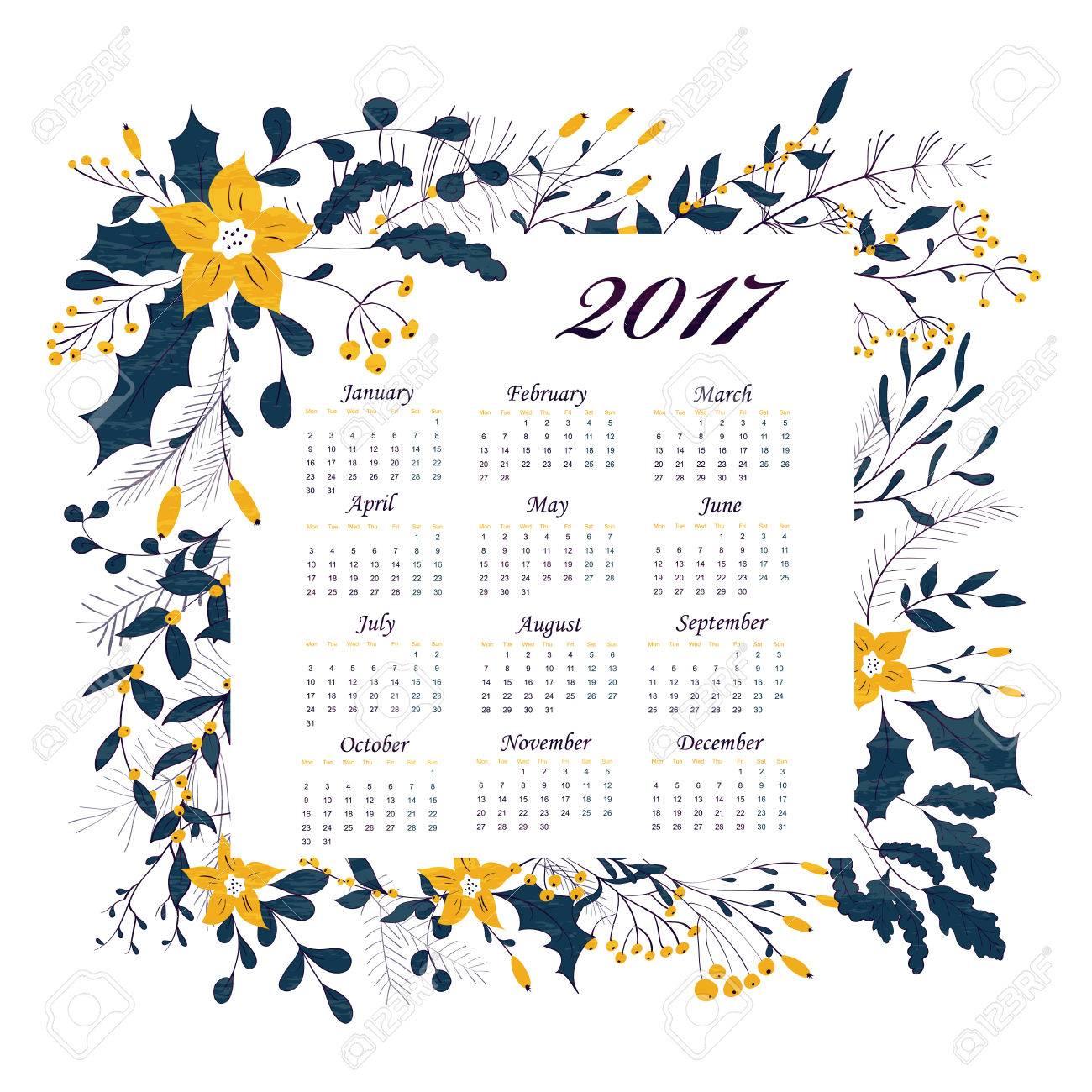 6aa907544 Año Nuevo Calendario Mensual. Corona De Invierno Con Bayas