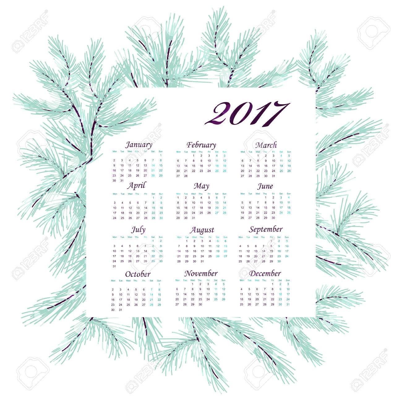9dc0a96f5 Año Nuevo calendario mensual. corona de invierno con ramas de pino.  dibujado a mano