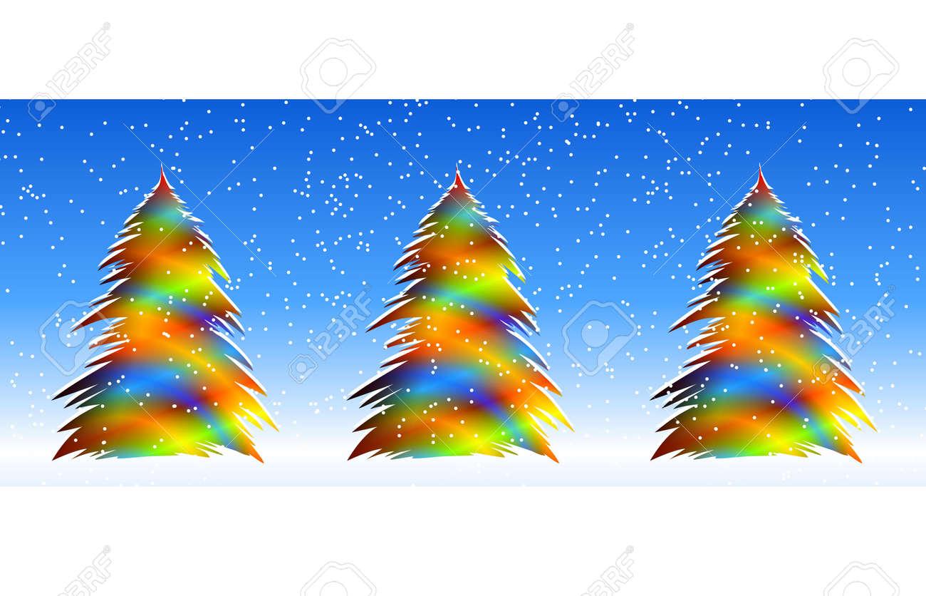 明るいクリスマス ツリーデジタル イラストグラデーション複数の