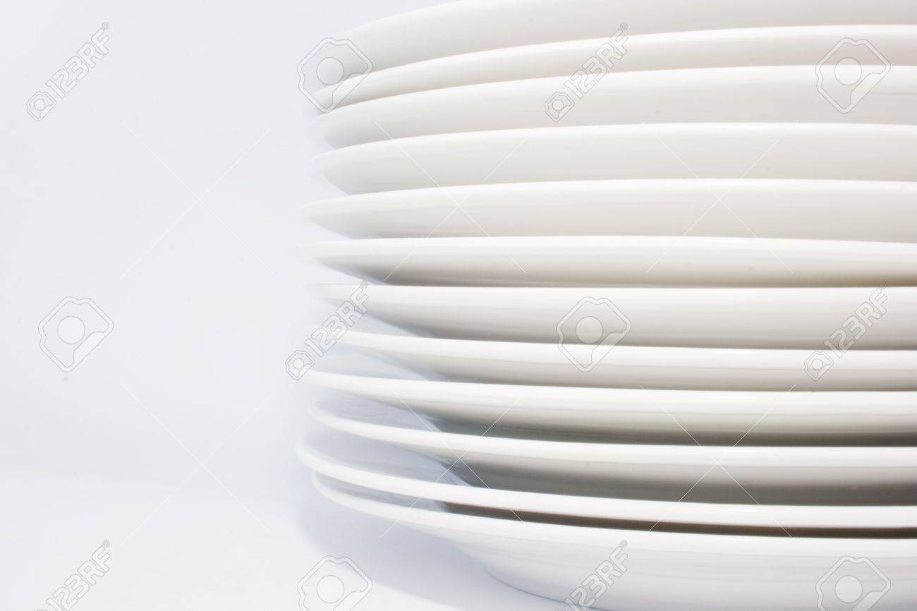 Stack Of White Dinner Plates On White Background,side-view Stock ... for Dinner Plate Side View  186ref