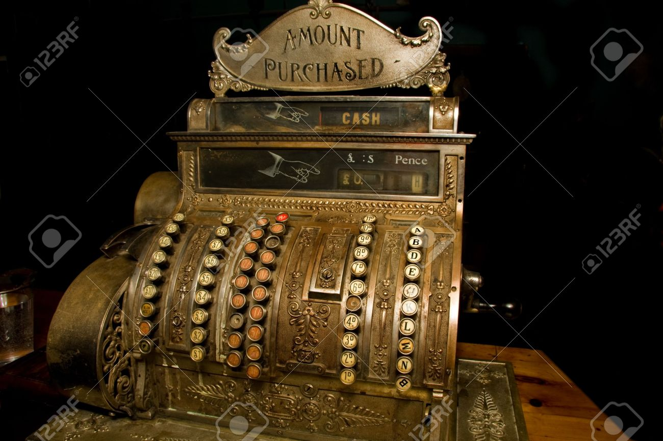 Souvent Caisse Enregistreuse Ancienne Avec De La Monnaie En Livres Banque  EO73