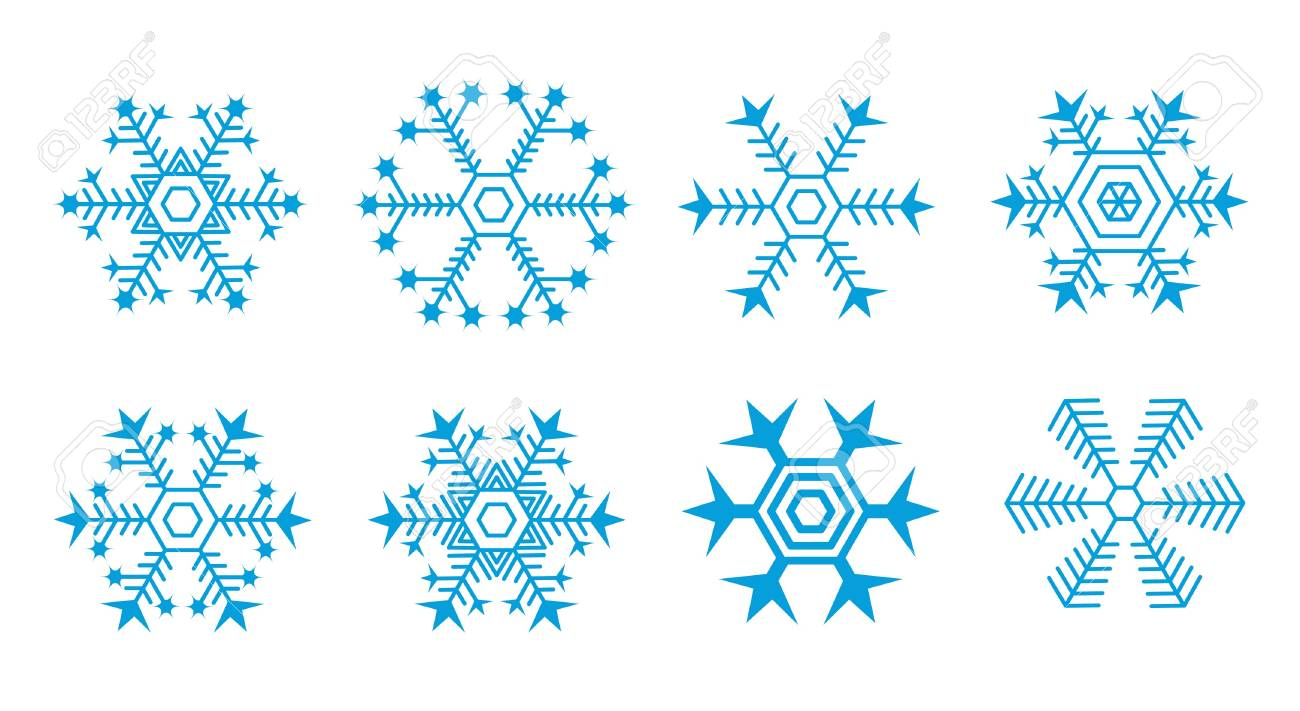 collection of blue snowflakes Stock Vector - 8211803