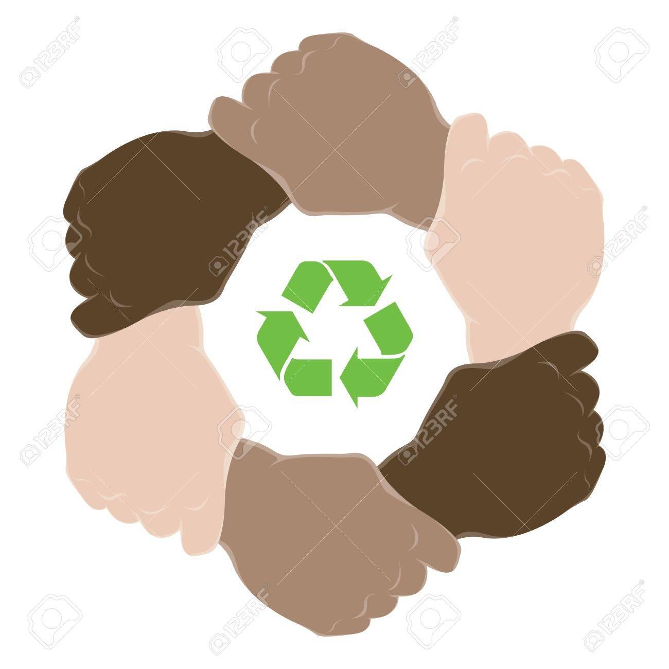 Symbol recycle in hands teamwork Stock Vector - 9621745