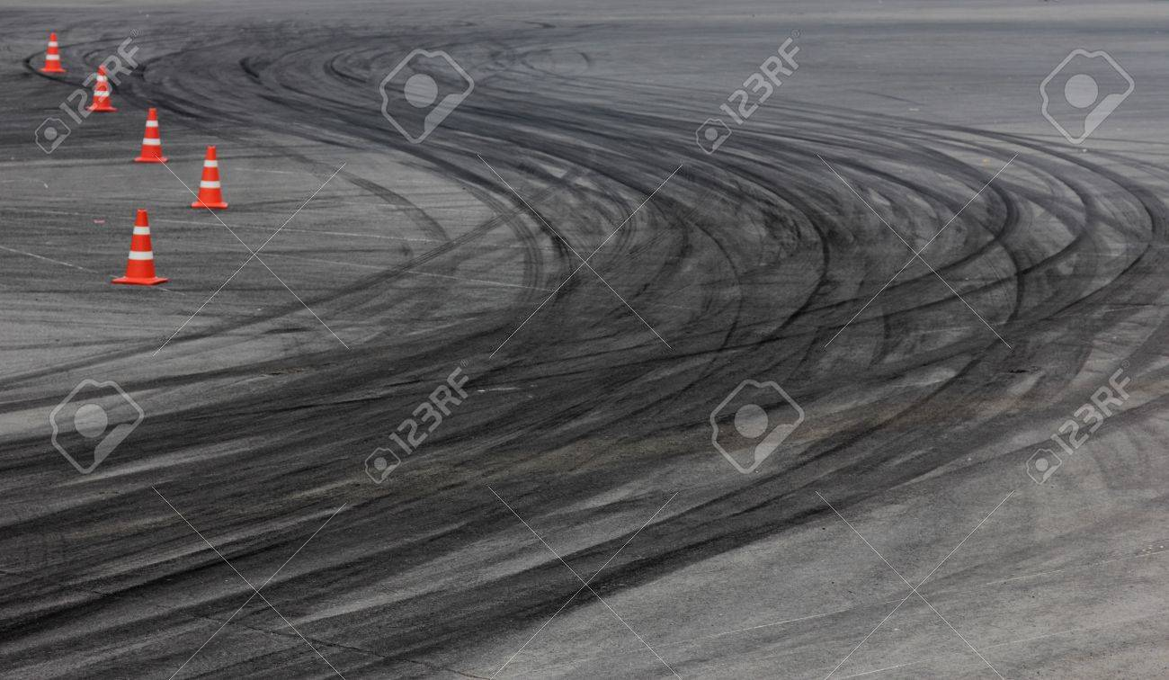 Tire marks on road track Stock Photo - 13906031