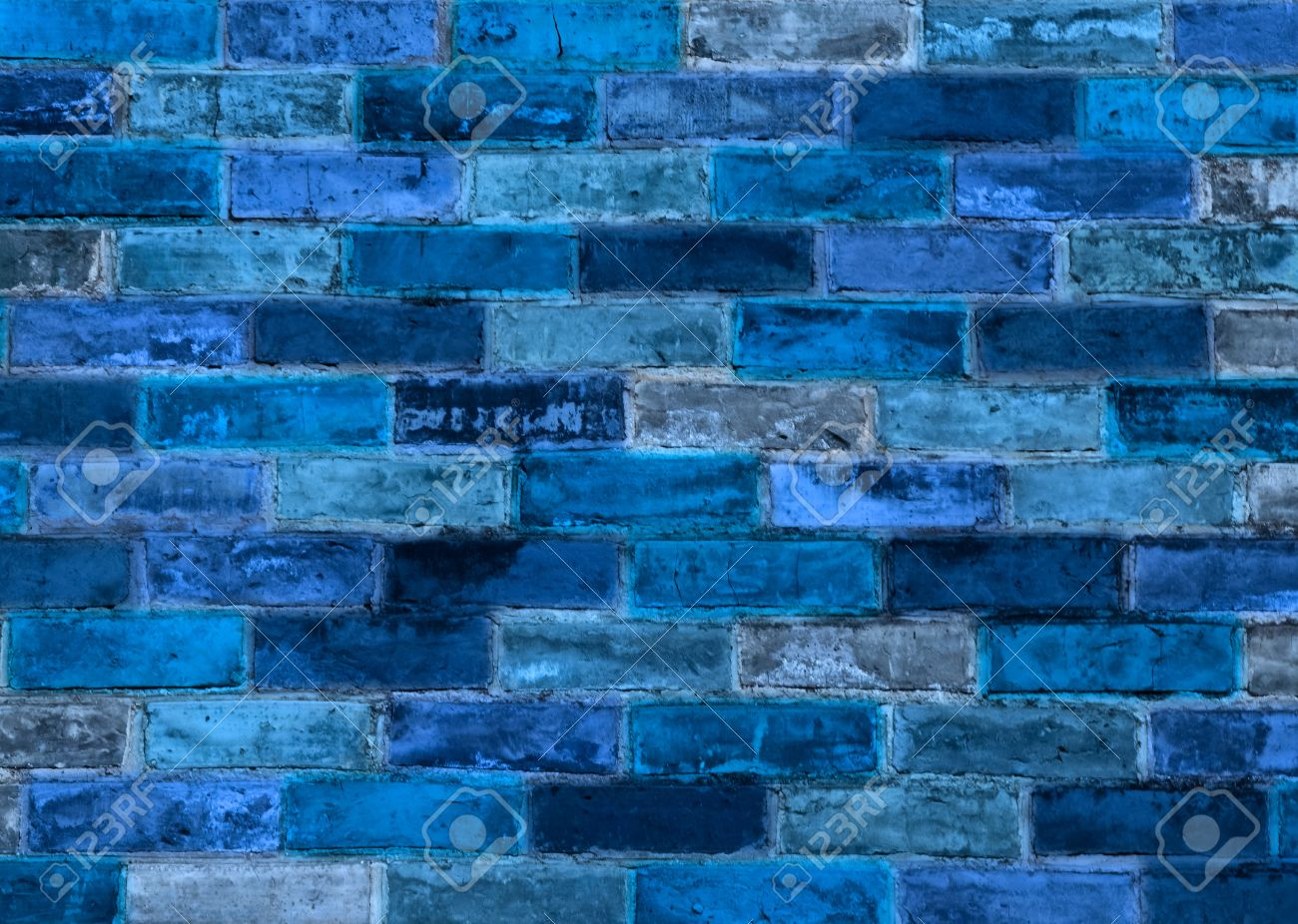 Blue Brick Wall For Backgrounds Or Wallpaper Stock Photo