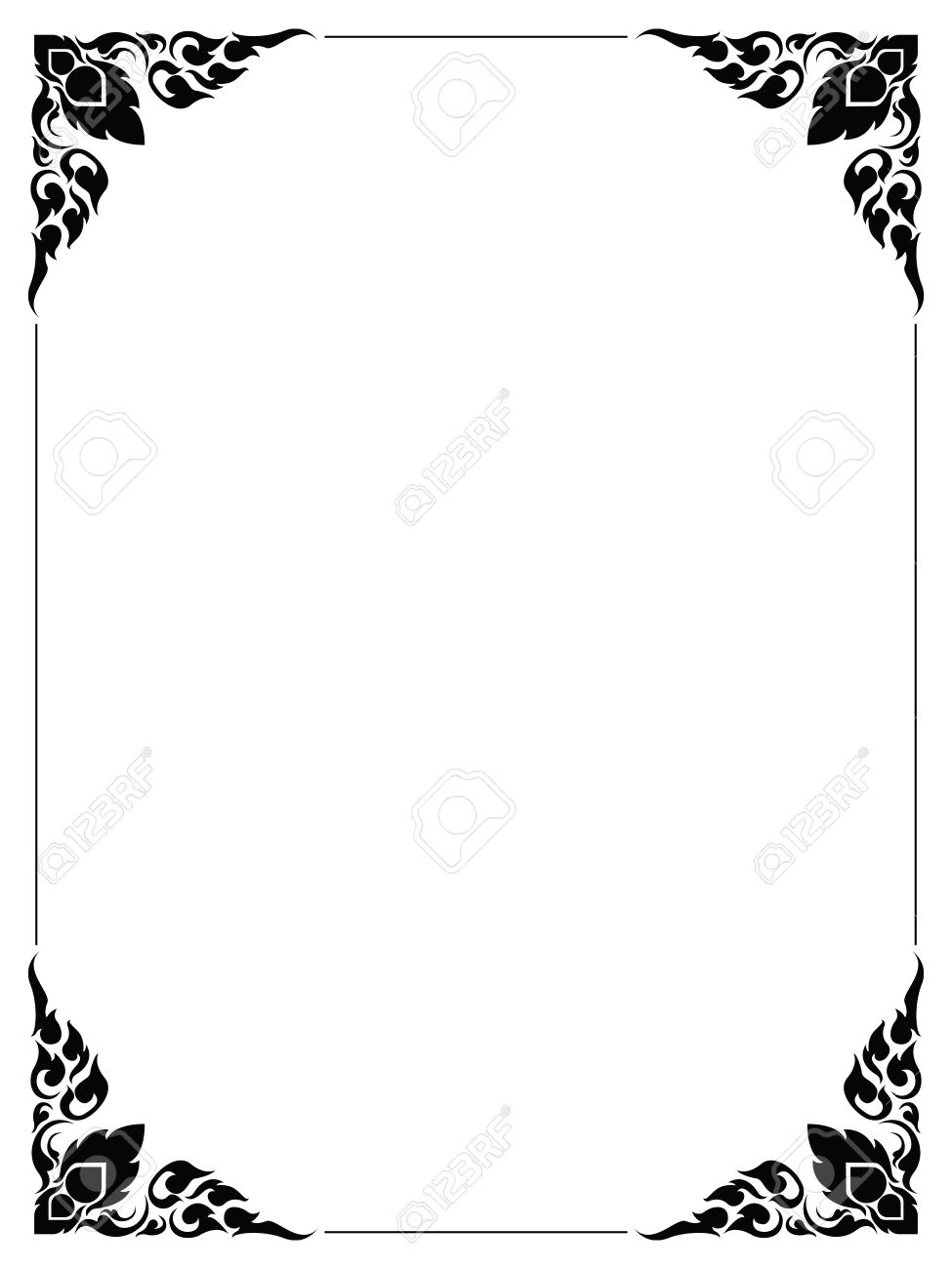 Frame Artistic Of Line Thai On White Royalty Free Cliparts, Vectors ...