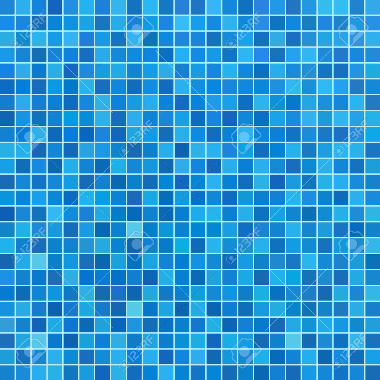 Blue ceramic tile mosaic in swimming pool - 33077682