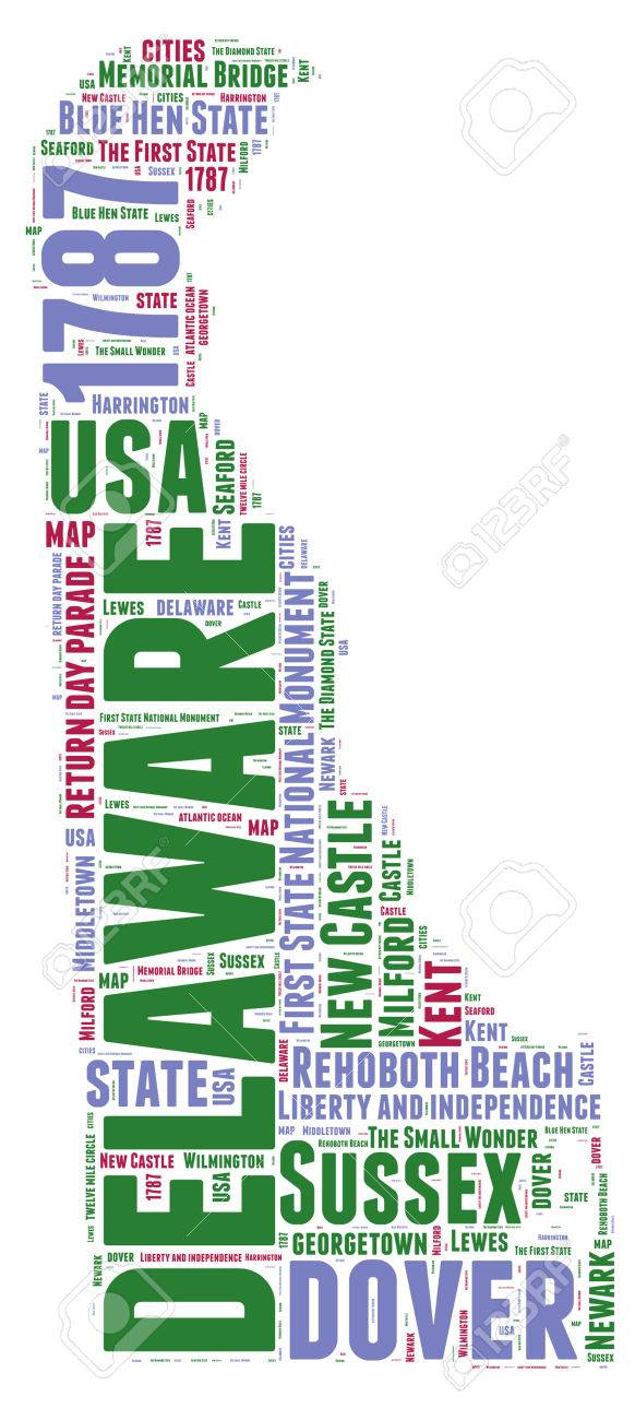 Delaware USA State Map Tag Cloud Illustration Stock Photo Picture - Delaware map usa