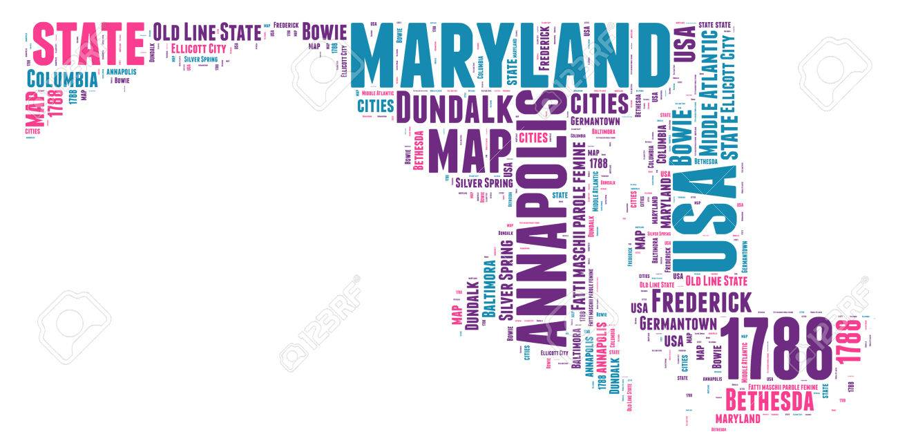 Maryland USA State Map Tag Cloud Illustration Stock Photo Picture - Maryland map usa