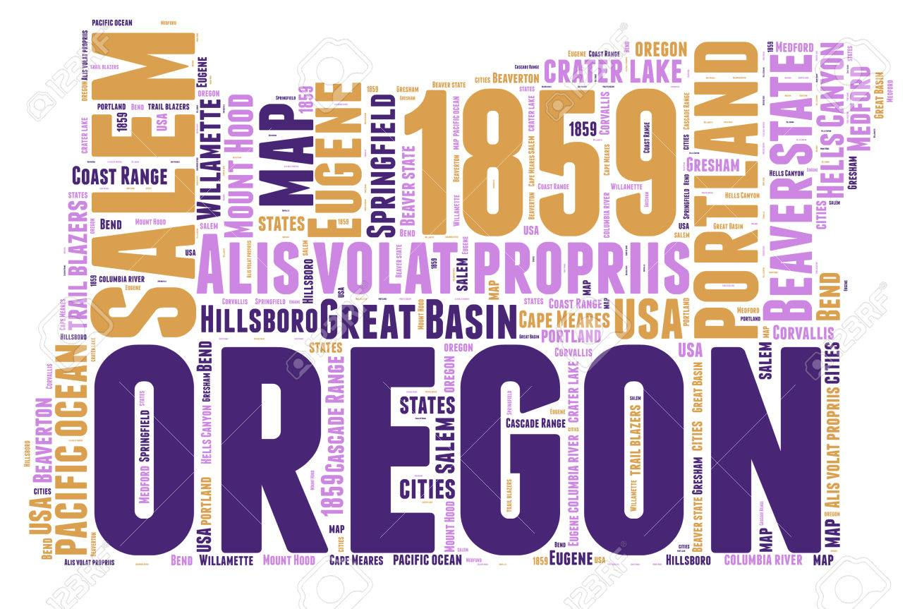 Oregon USA State Map Tag Cloud Illustration Stock Photo, Picture And ...
