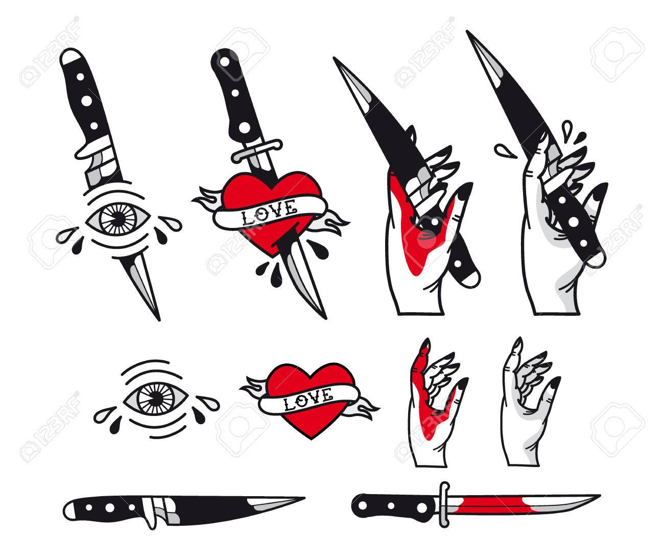 Traditional Tattoo Style Set Hearts Knife Eye Hand Ribbons
