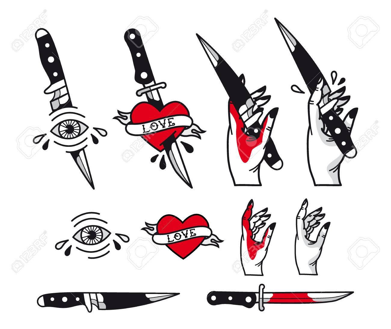 Traditionelle Tattoo-Stil-Set - Herzen, Messer, Auge, Hand, Bänder ...