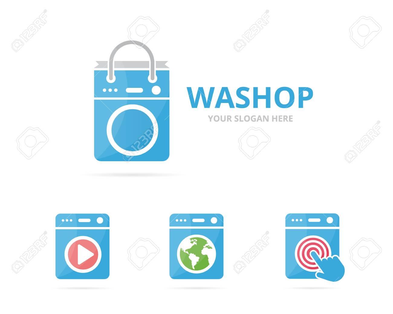 Set Of Laundry Logo Combination Washing Machine And Shop Symbol