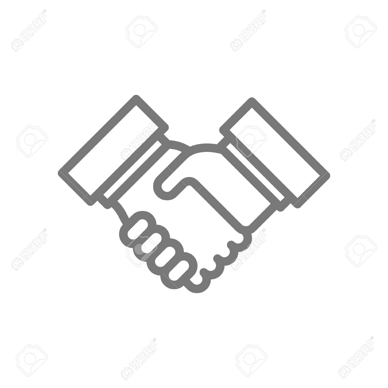 Simple Business Handshake And Contract Agreement Line Icon Symbol