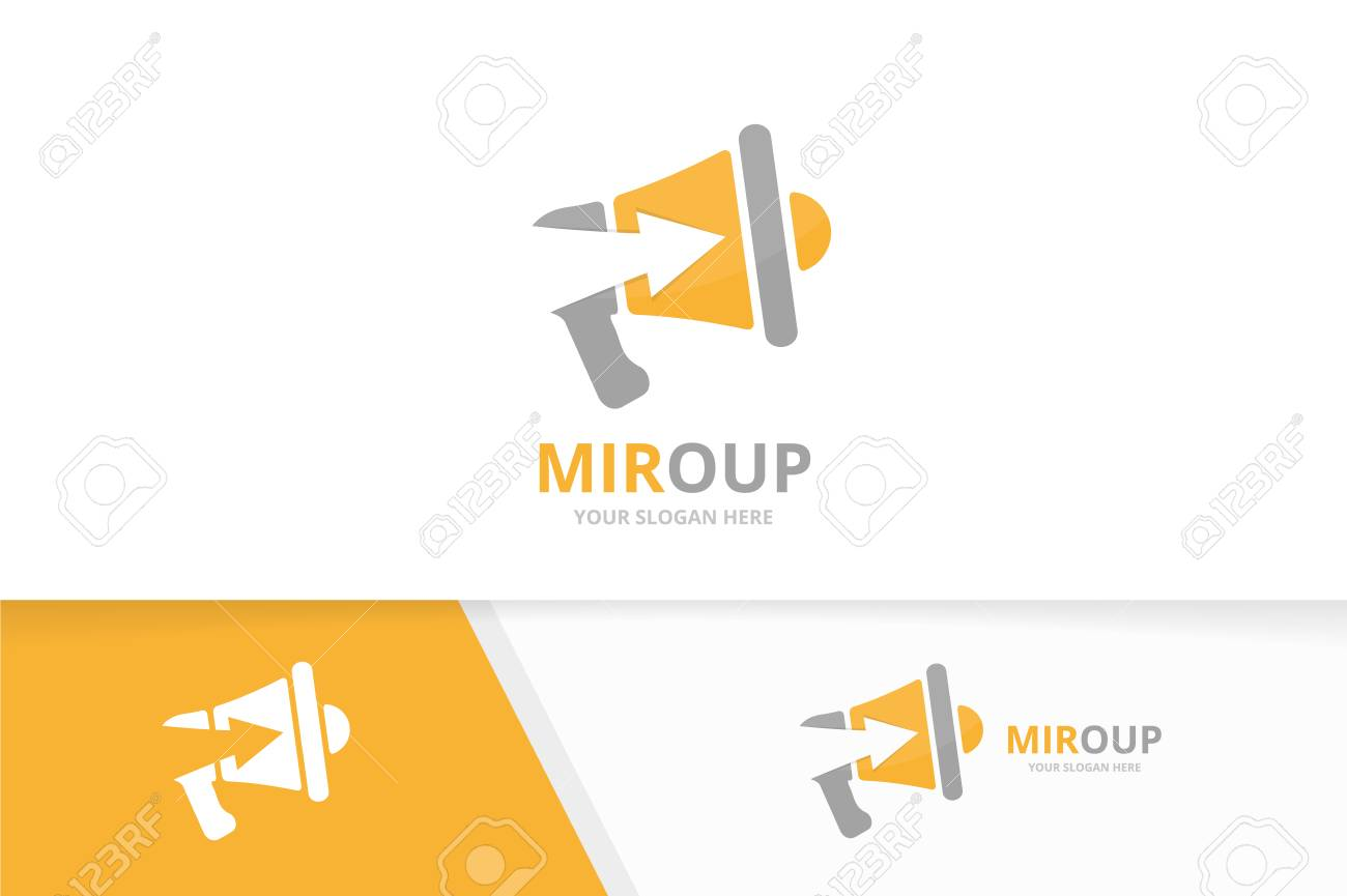 Vector megaphone and arrow up logo combination bullhorn and vector vector megaphone and arrow up logo combination bullhorn and growth symbol or icon unique announcement and upload logotype design template publicscrutiny Gallery