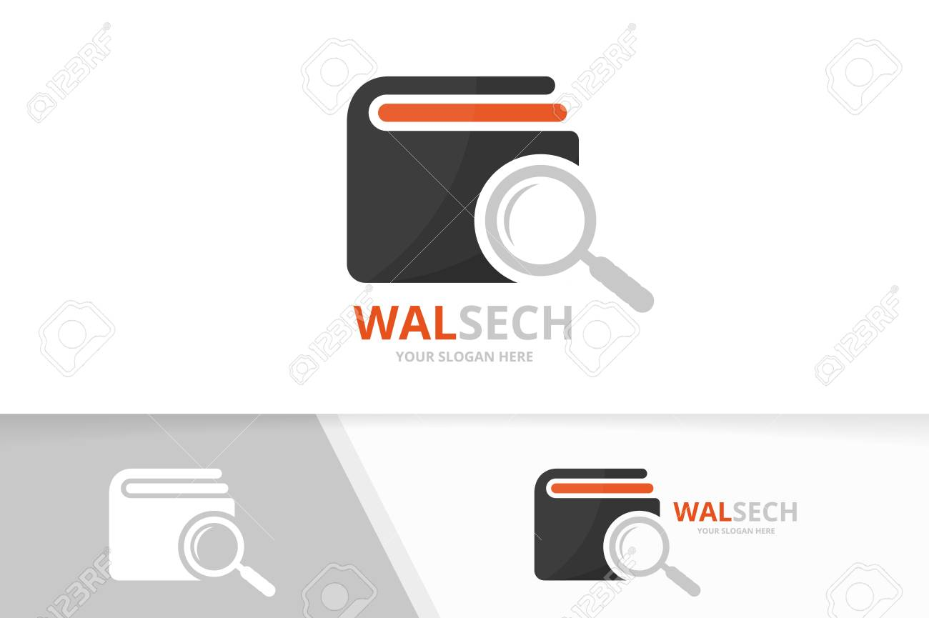Vector Wallet And Loupe Logo Combination. Purse And Magnifying ...
