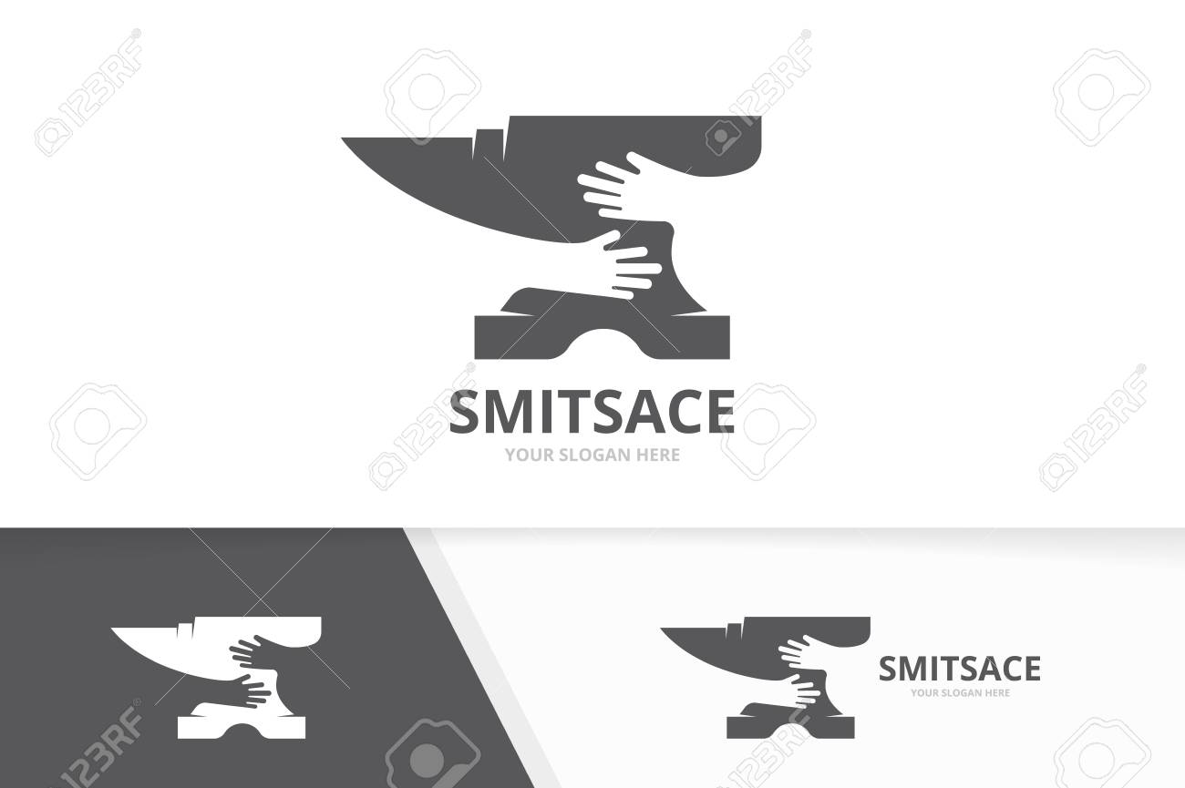 Vector Smith And Hands Logo Combination Blacksmith And Hug Symbol