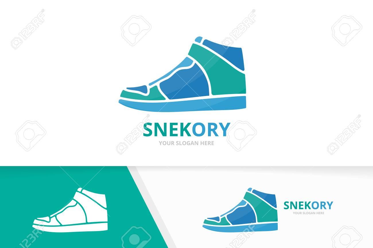 Vector Sneaker Logo Combination Shoe Symbol Or Icon Unique