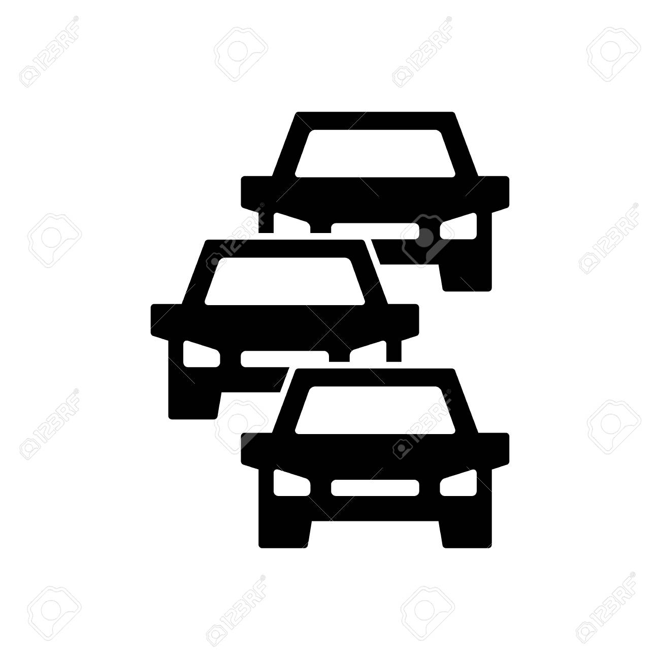 Traffic jam icon, symbol and sign isolated on white - 108563476