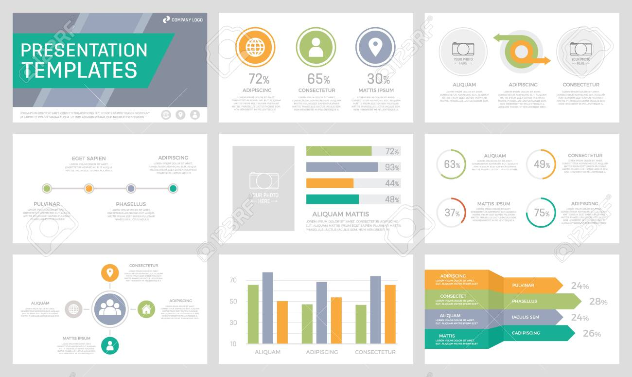 Set of orange, green, grey and turquoise elements for multipurpose presentation template slides with graphs and charts. Leaflet, corporate report, marketing, advertising, book cover design. - 142335591