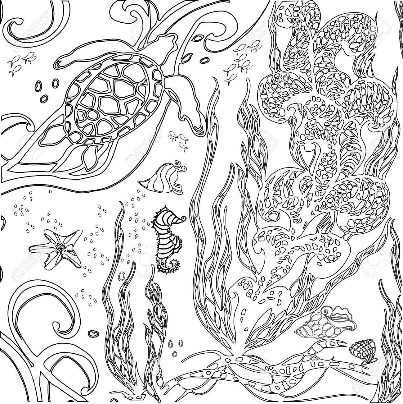Coloriage Adulte Histoire.Monde Sous Marin De Vector Illustration Doodle Mer Ocean Histoire De Fees Livre De Coloriage Anti Stress Pour Les Adultes Noir Et Blanc