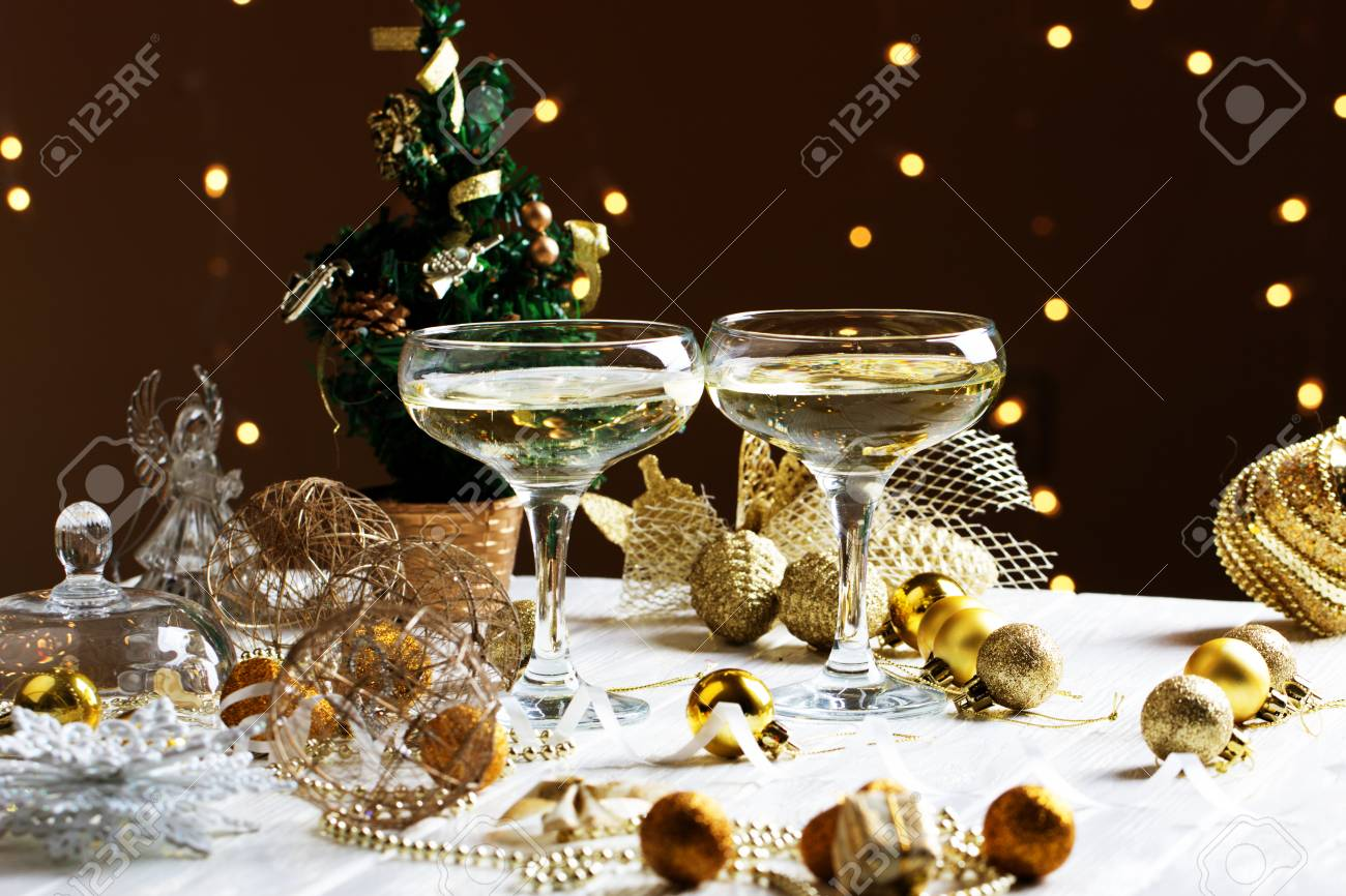 Glasses Of Wine Glasses Of Wine On The Background Of Christmas