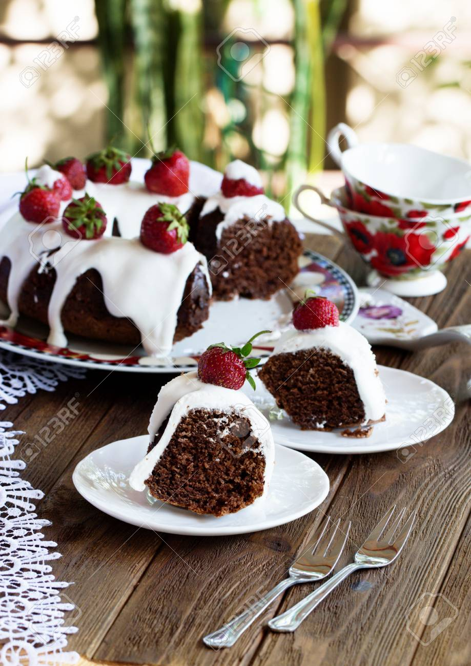 Chocolate Cake Decorated With Strawberries