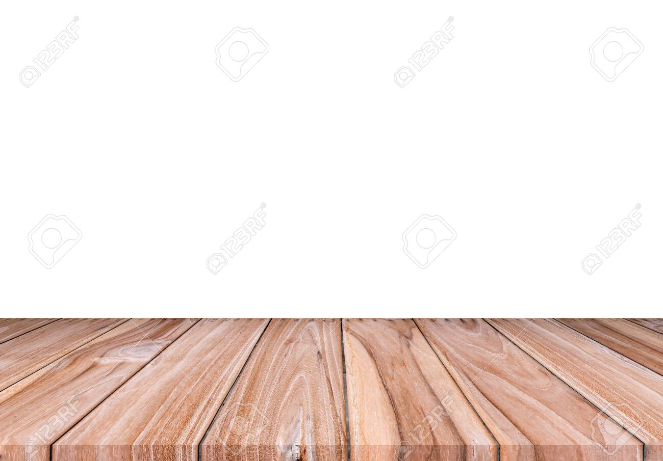 Empty brown wood floor isolated on white background. for montage of your product - 141975001