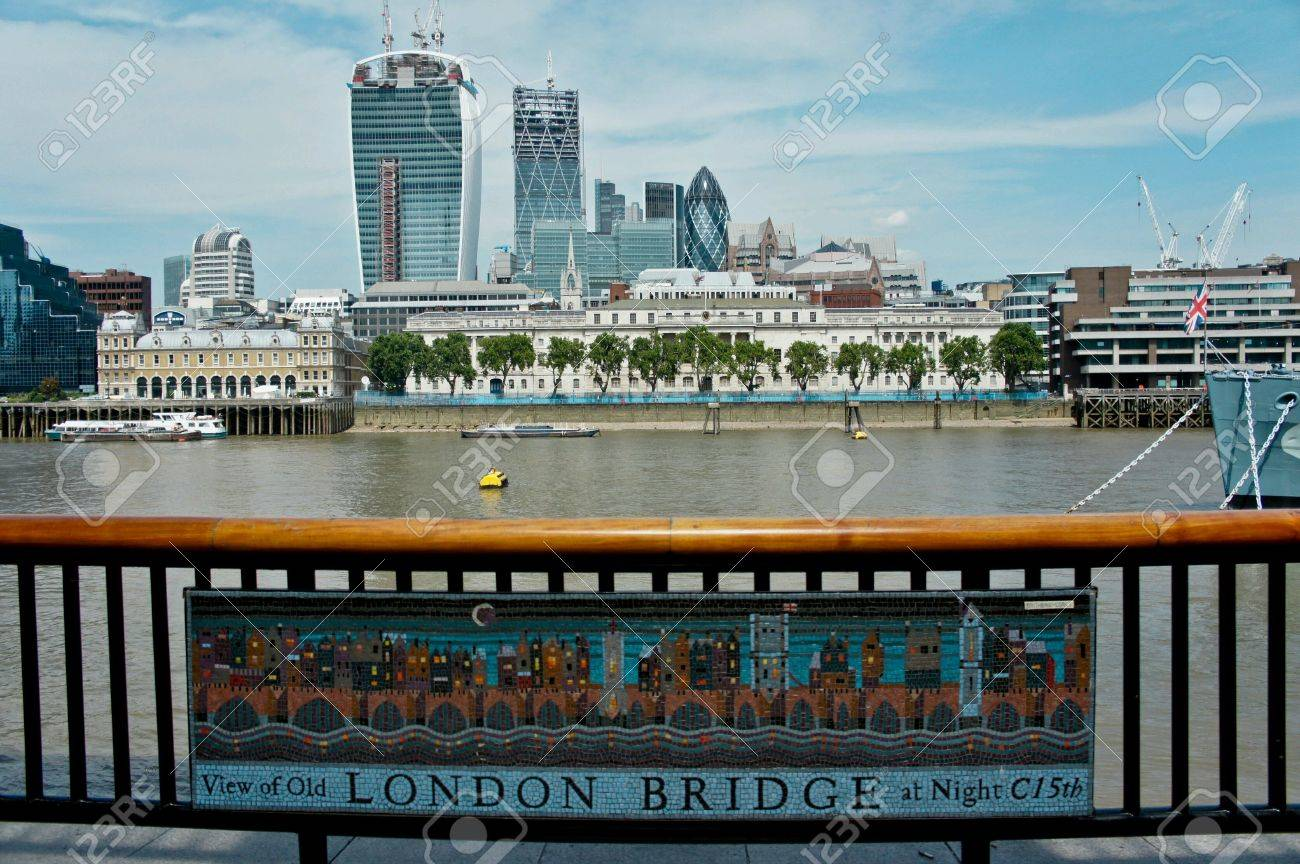 A View Of Old London Bridge At 15th Century And Now Stock Photo Picture And Royalty Free Image Image 24104421