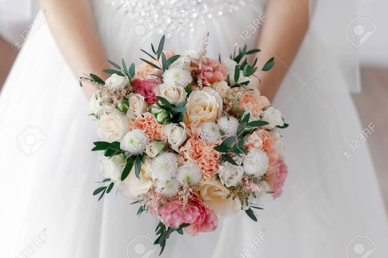 Bridal Bouquet Of White Roses And Peach Peonies With Pink Eustoma Stock Photo Picture And Royalty Free Image Image 146354278