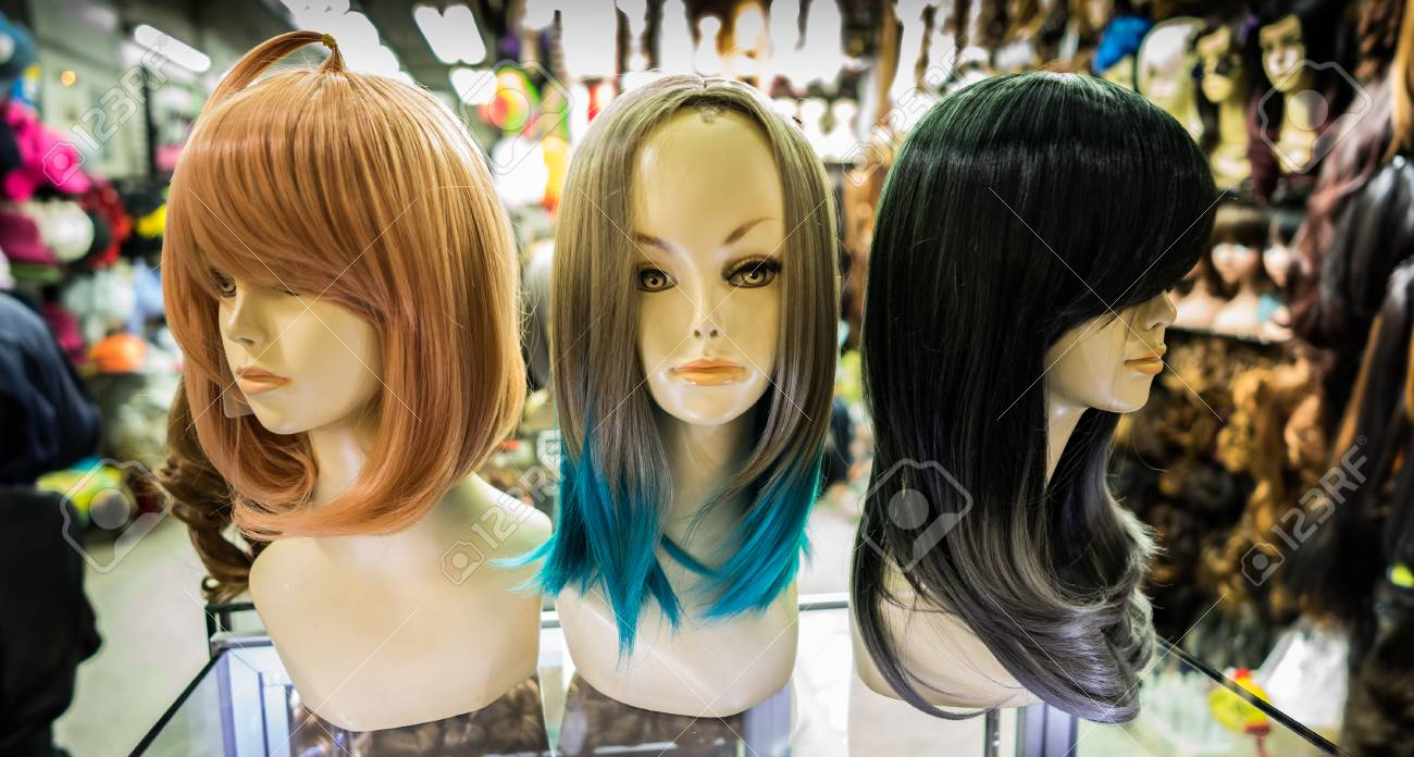 The Half Mannequin With Different Hair Color On Stock Photo Picture