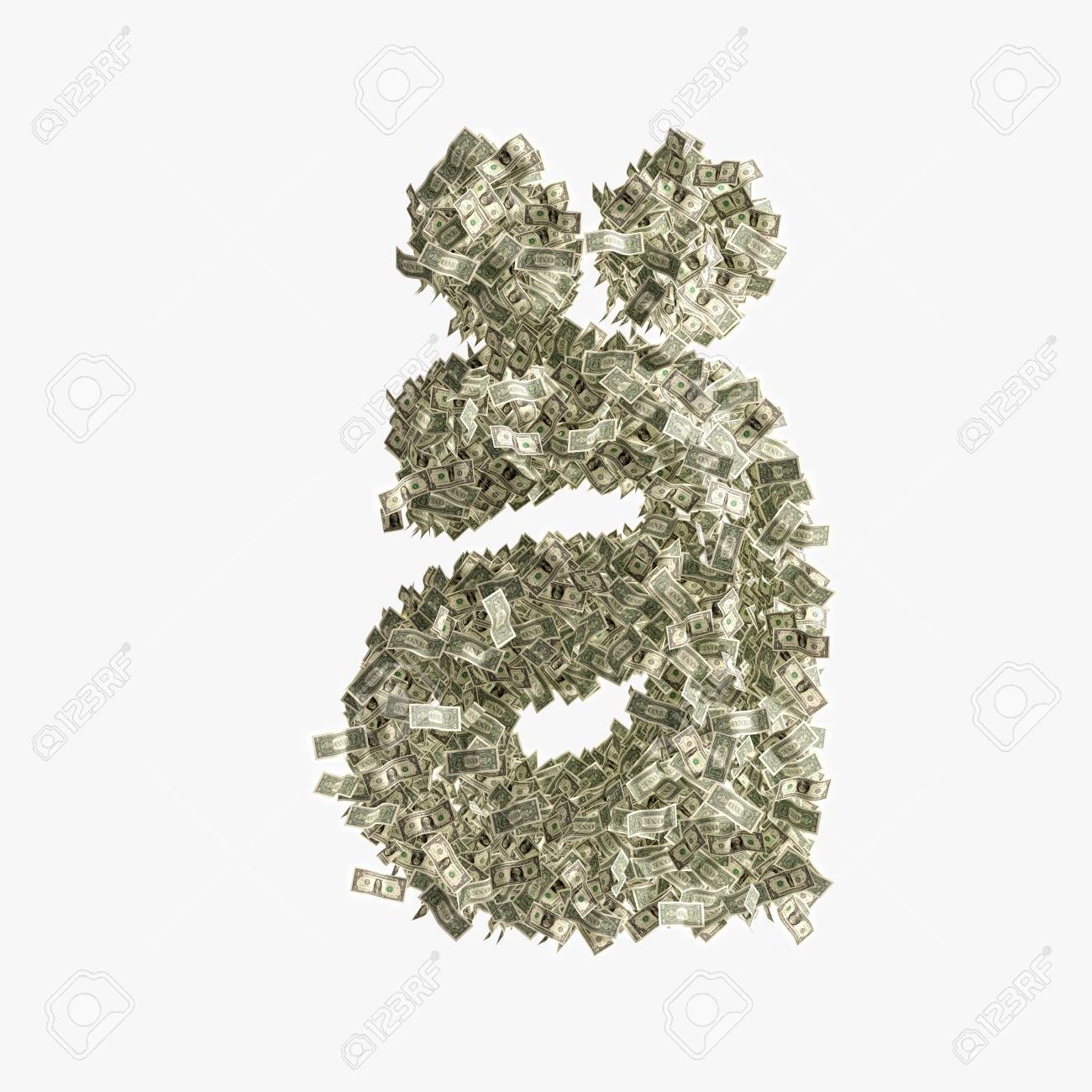 Small Letter A Made From Dollar Bills Banco De Imagens Royalty