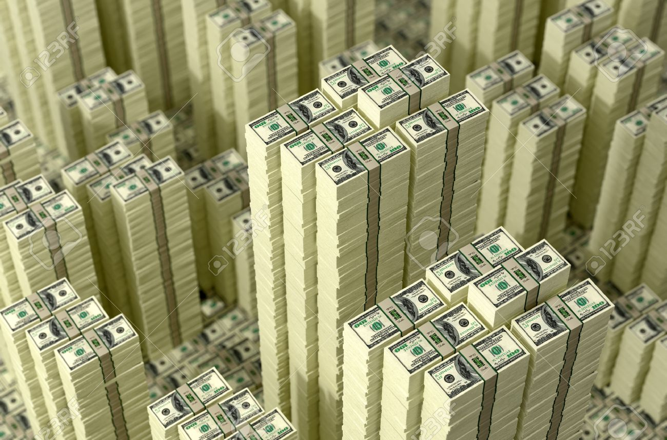 Piles of dollar bills  Money Skyline