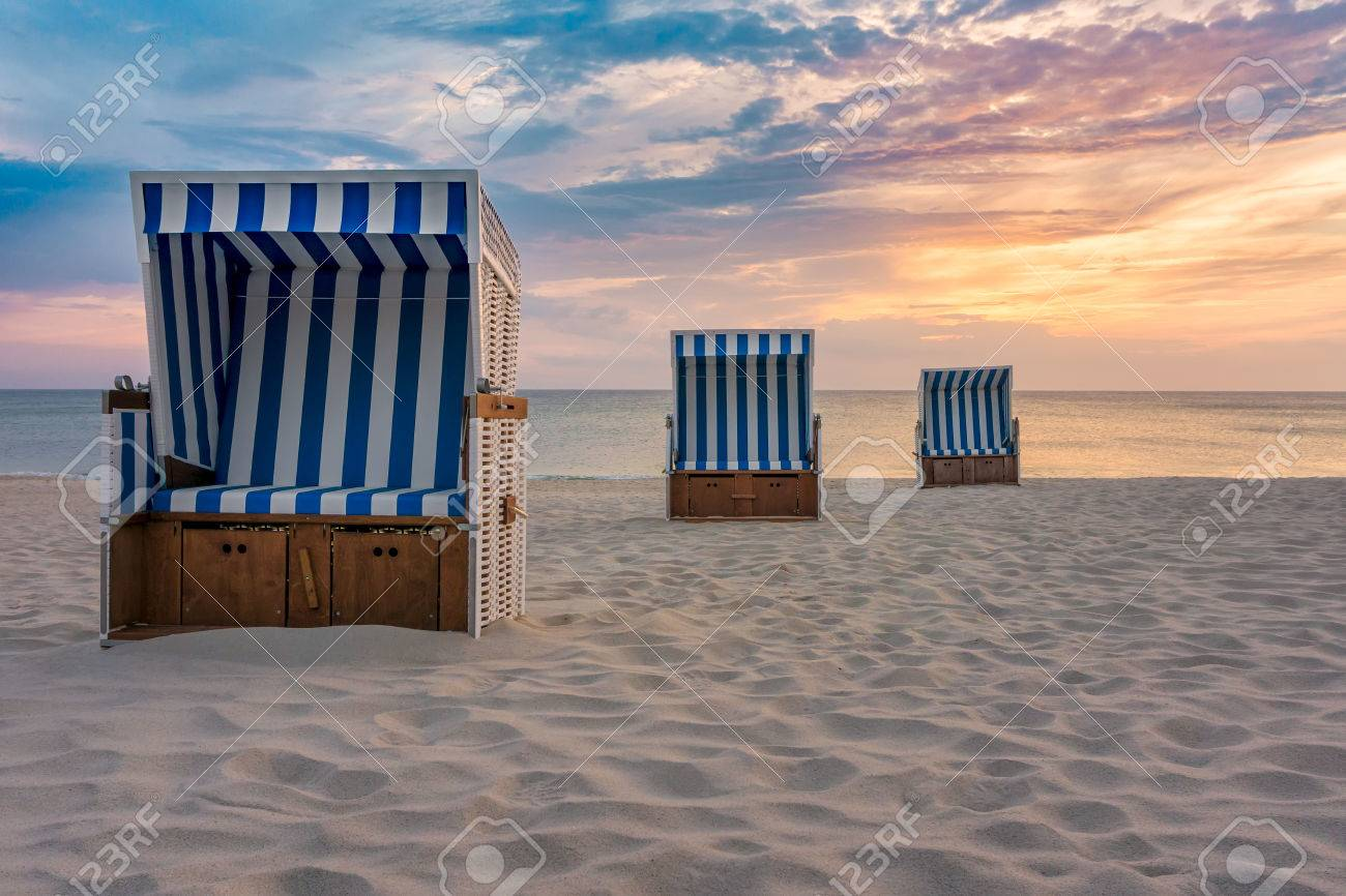Sunset And Beach Chairs Kampen Sylt Stock Photo Picture And