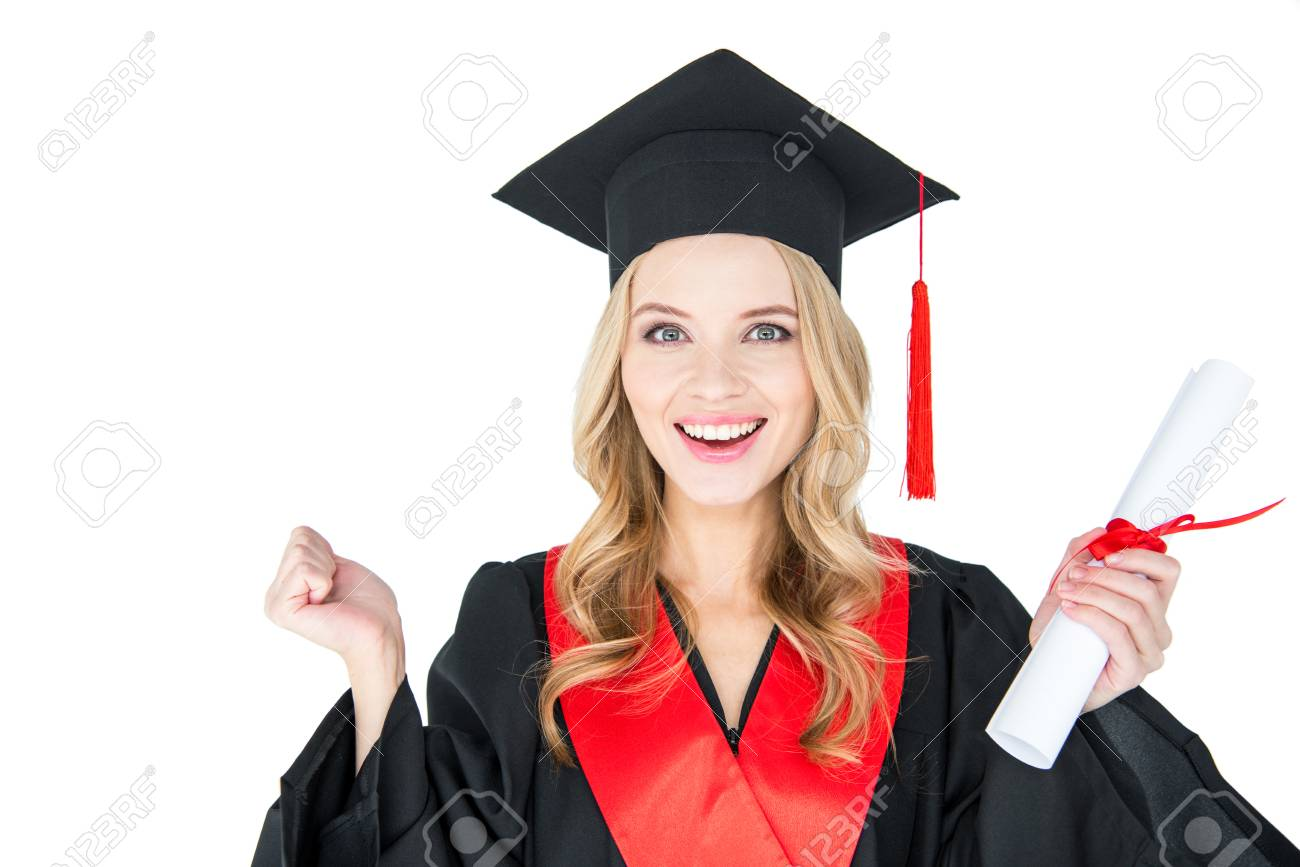 Young Woman In Academic Gown And Mortarboard Holding Diploma.. Stock ...