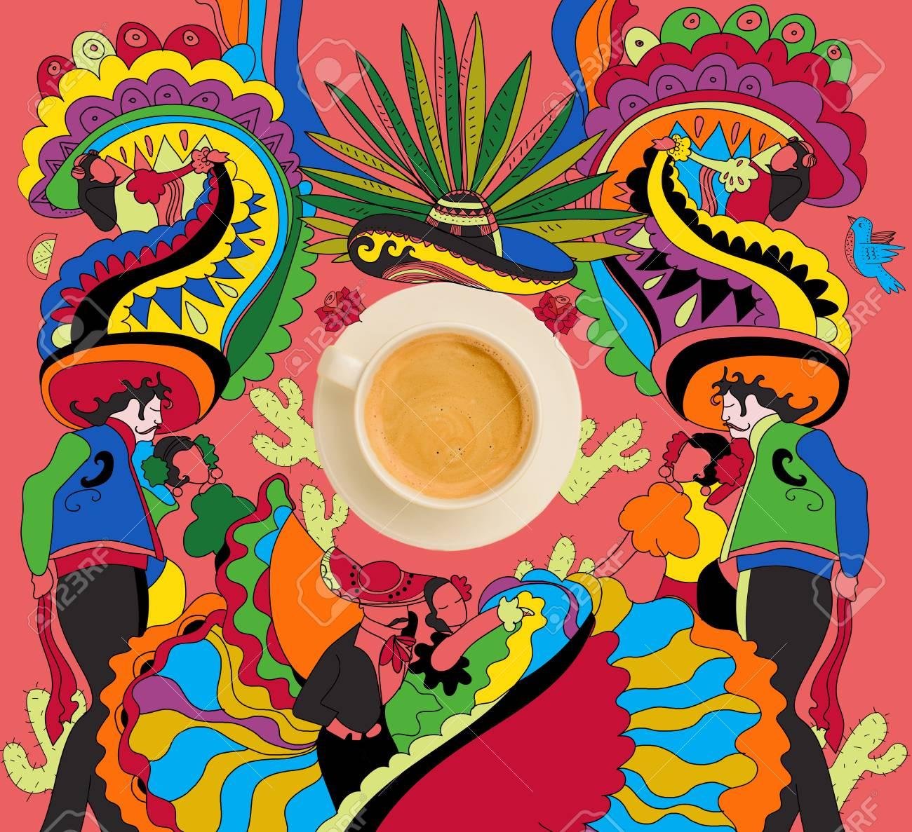 4b2c7749921aa Café con colorido tema mexicano Foto de archivo - 84875114