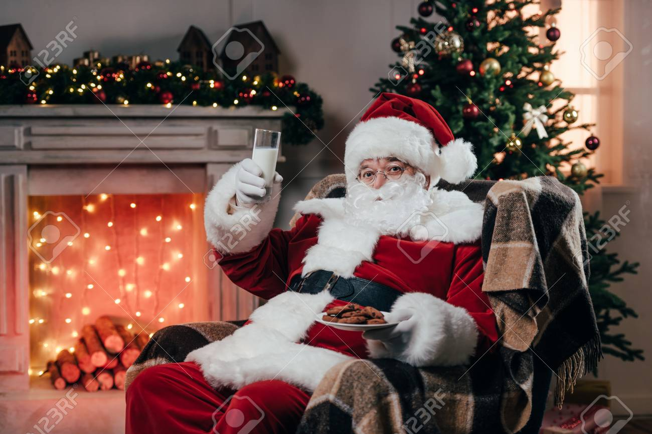 Santa With Cookies And Milk