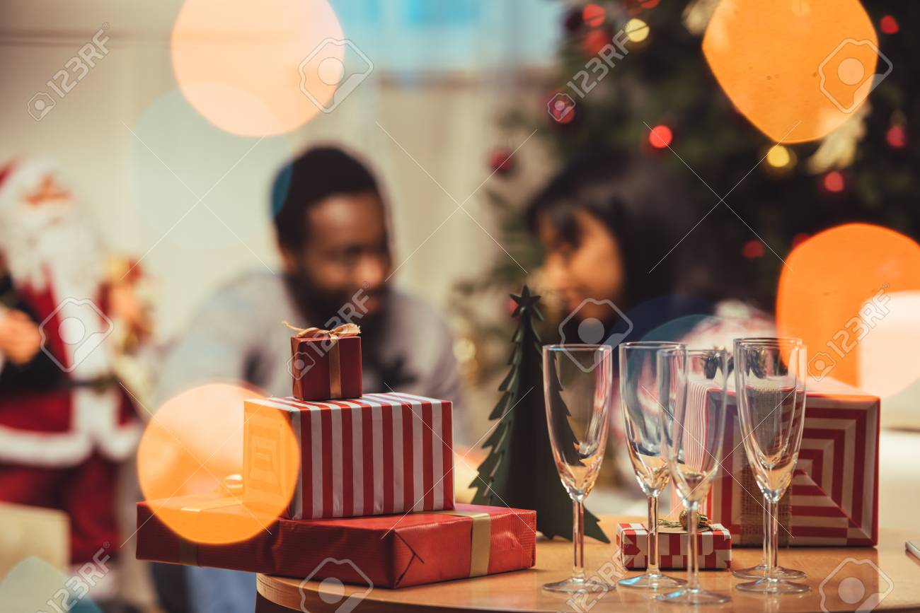 Christmas Gifts On Table Stock Photo, Picture And Royalty Free Image ...