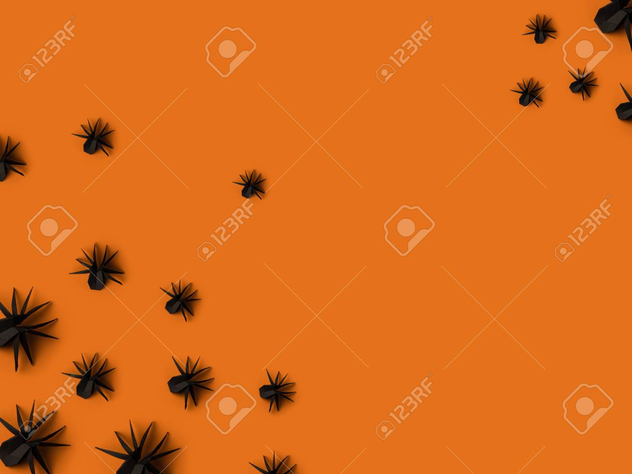 Black halloween origami spiders isolated on orange with copy black halloween origami spiders isolated on orange with copy space stock photo 88090754 jeuxipadfo Gallery