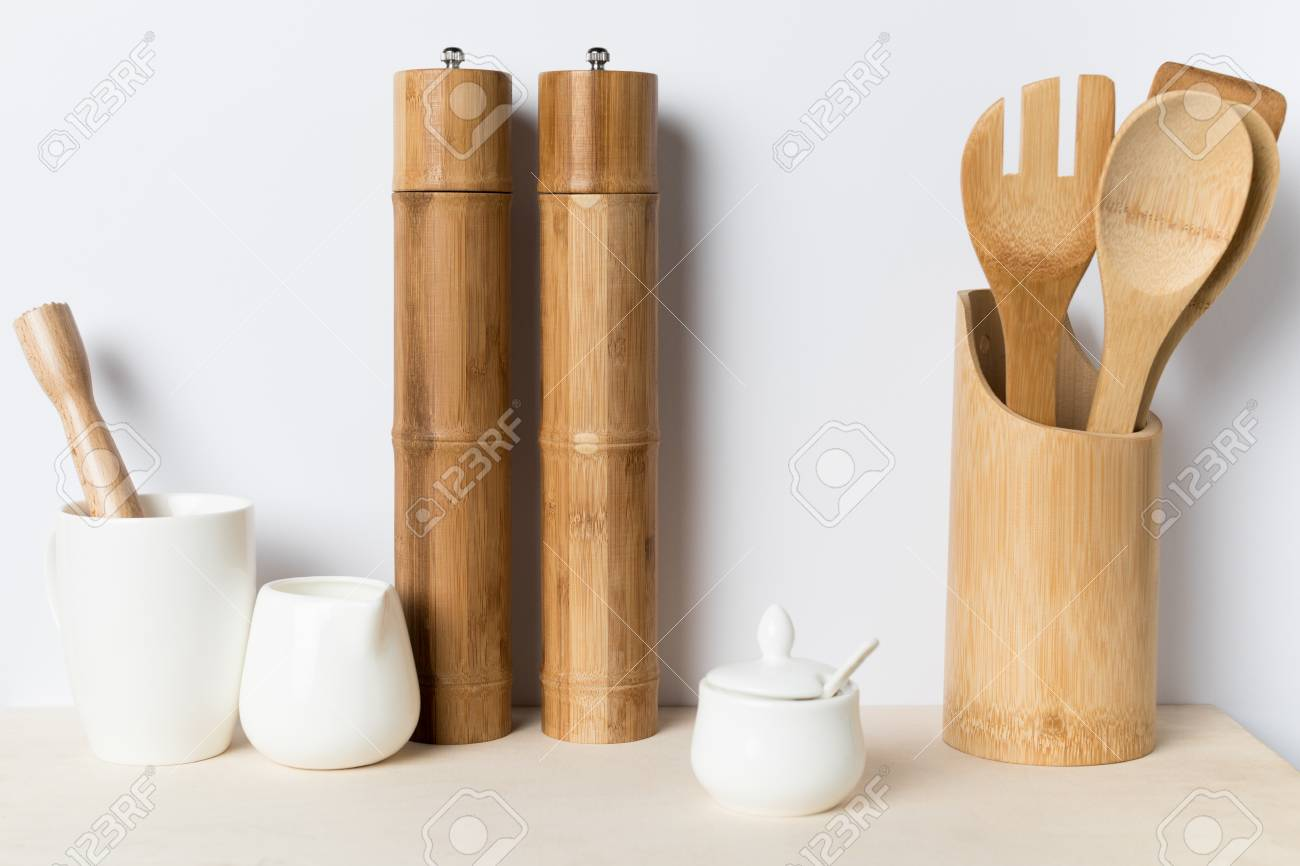 Stock Photo   Various Wooden, Ceramic And Bamboo Kitchen Utensils